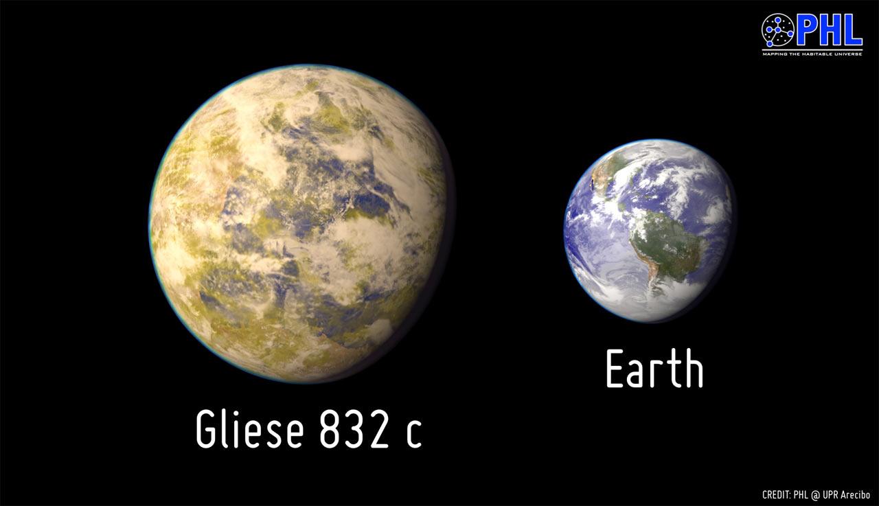 Художественное представление потенциально обитаемой экзопланеты Gliese 832с в сравнении с Землей