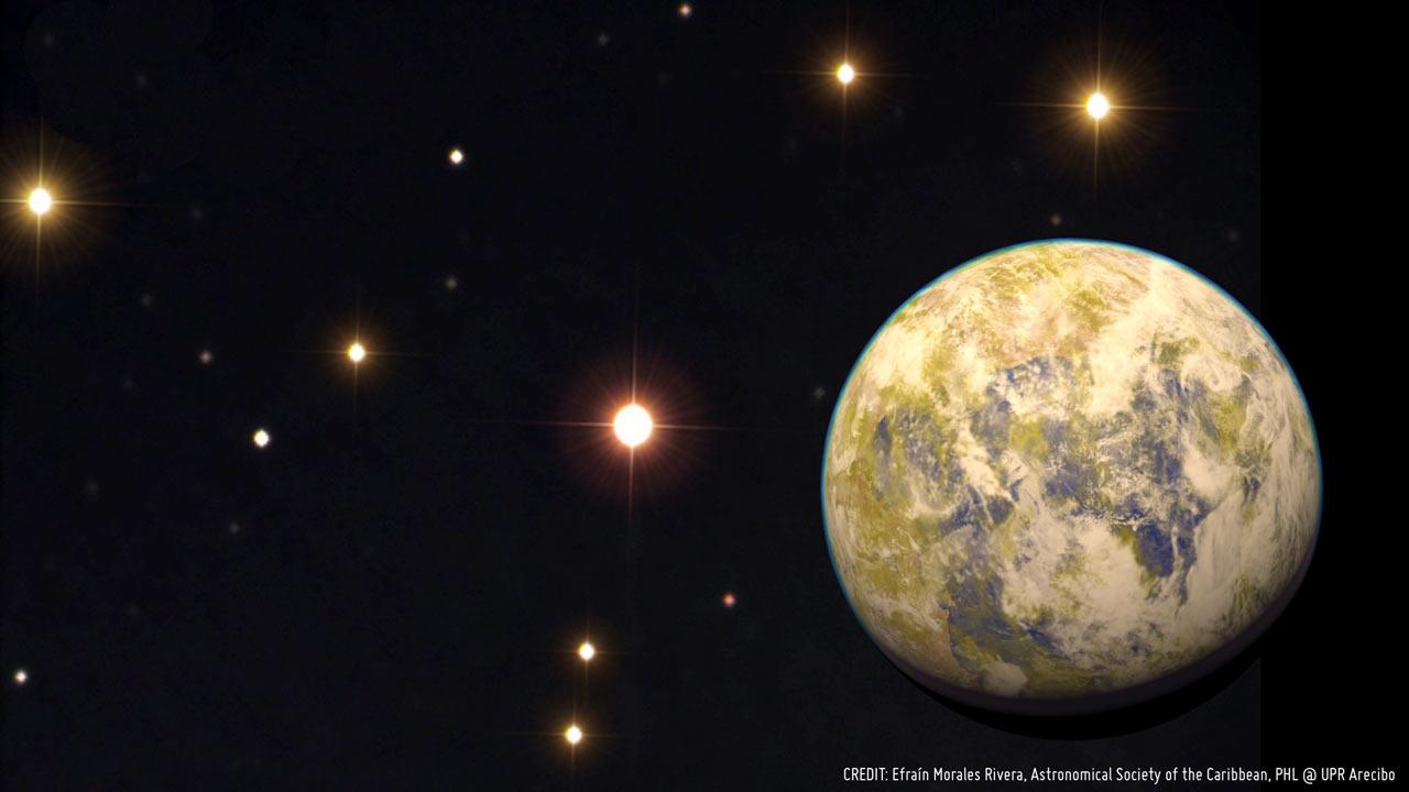 Художественное представление потенциально обитаемой супер-Земли Gliese 832c
